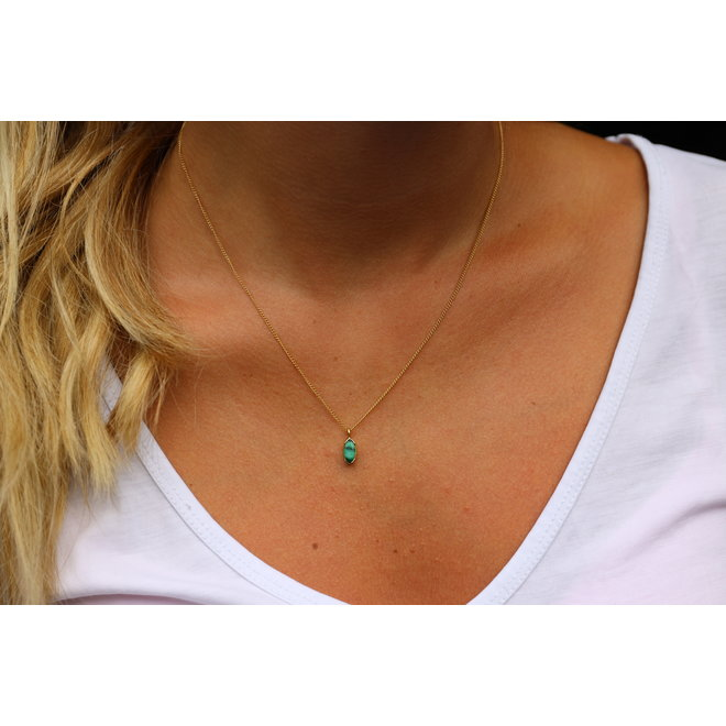 Marquise Malachite necklace gold