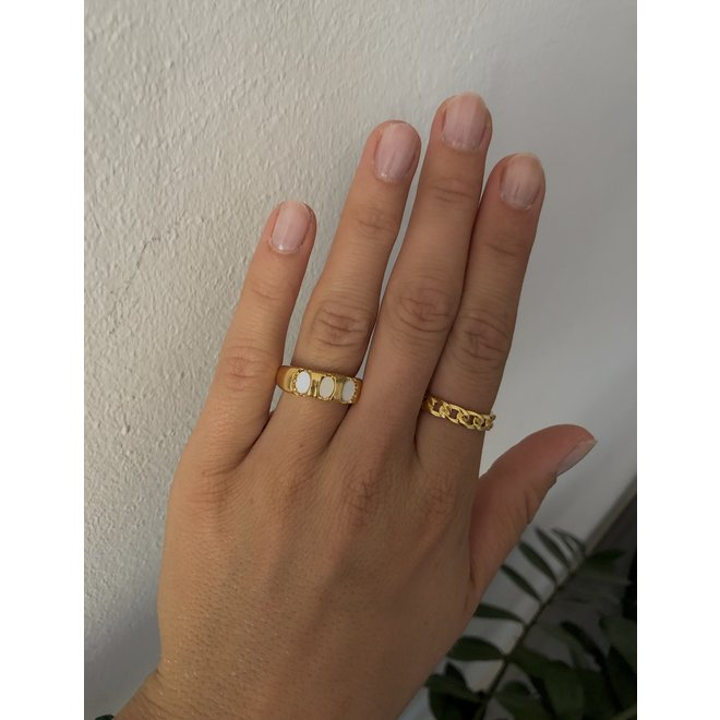 Vintage Mother of pearl ring gold