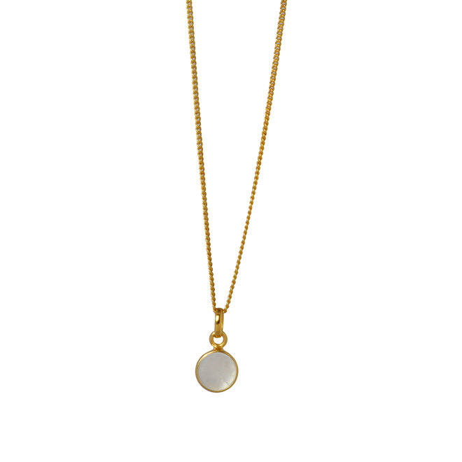Mother Of Pearl Coin necklace gold