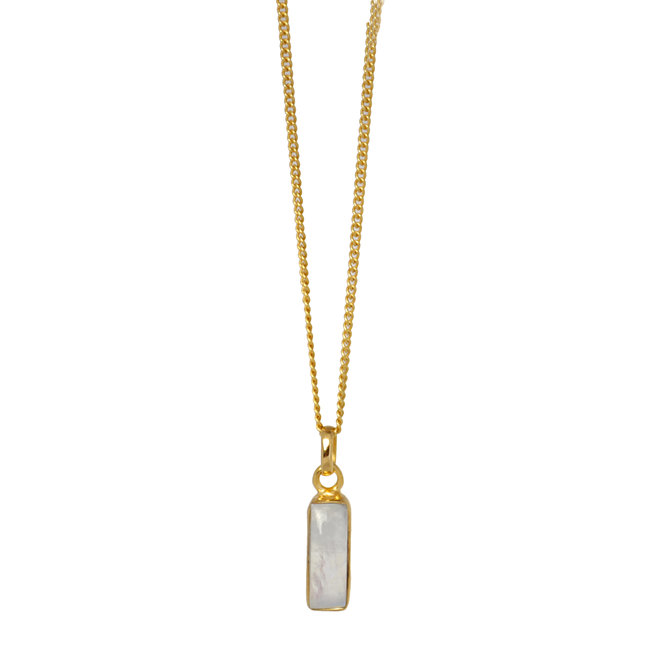 Rectangle Moonstone necklace gold