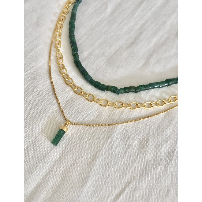 Jade Beads necklace gold
