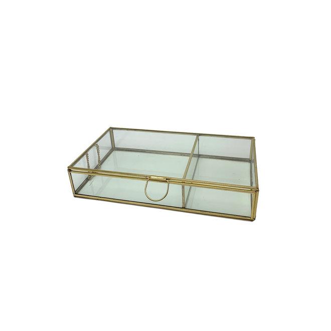 Glazen Box met 2 vakken - Goud