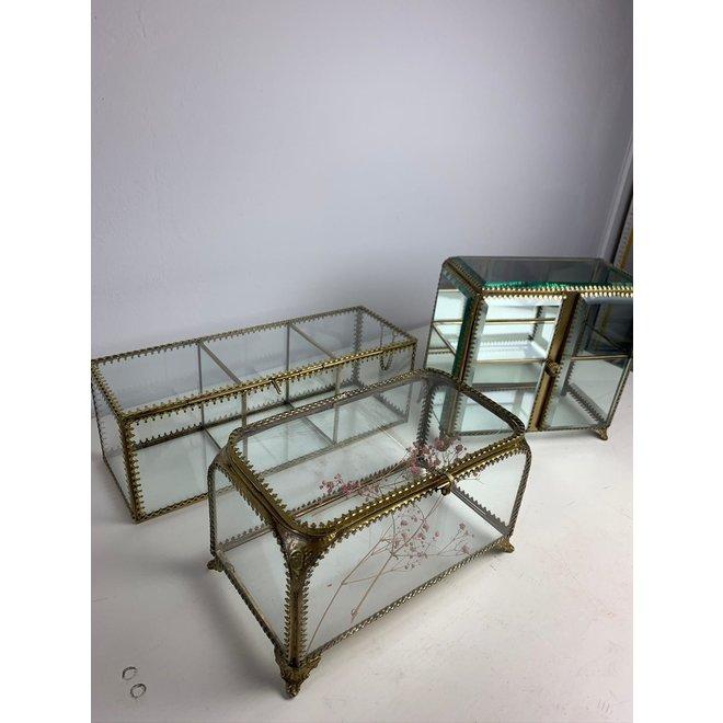 Vintage Glazen Box - Goud