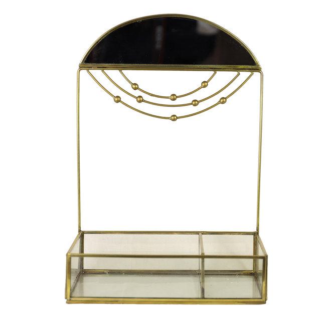 Make-up Organizer met Spiegel - Glas - Goud