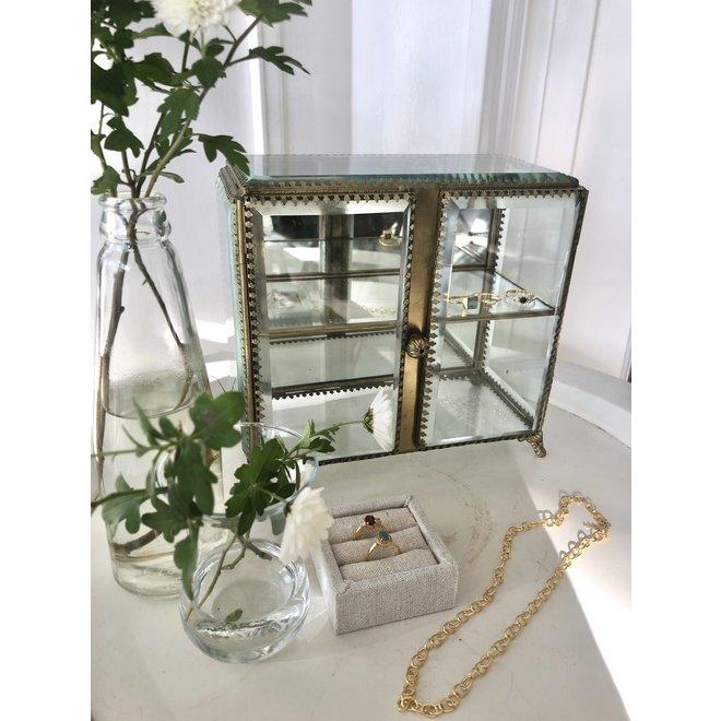Vintage Glazen Box met Verdiepingen - Goud