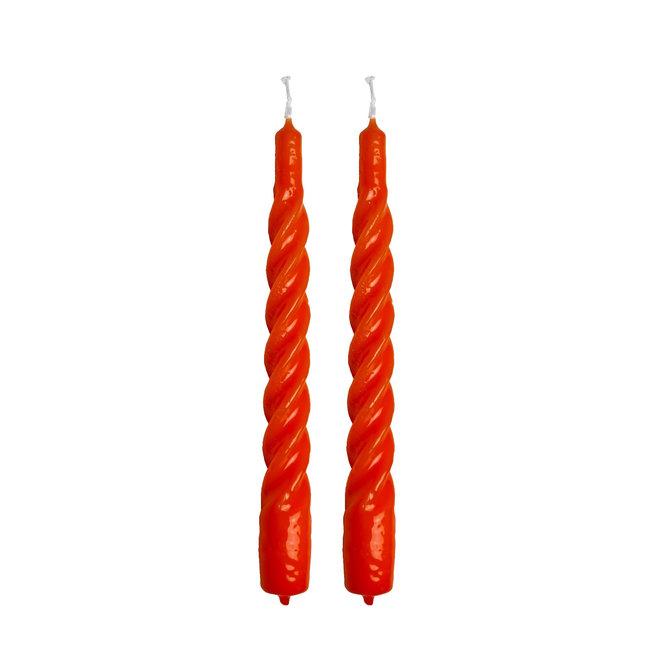 Orange Twisted Candle Set