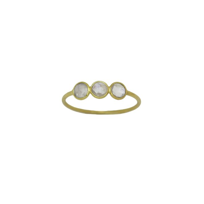 Moonstone Rounds ring gold | gouden ring