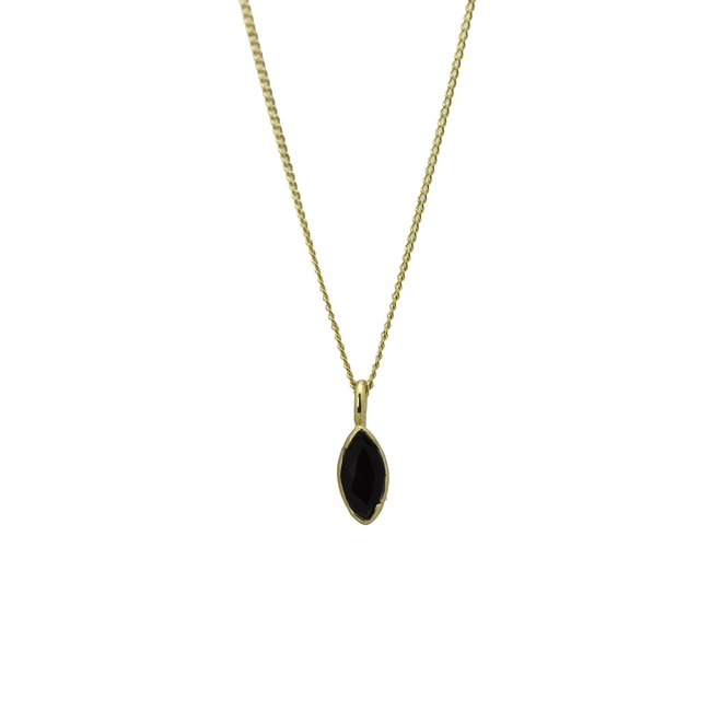 Marquise Black Onyx necklace gold