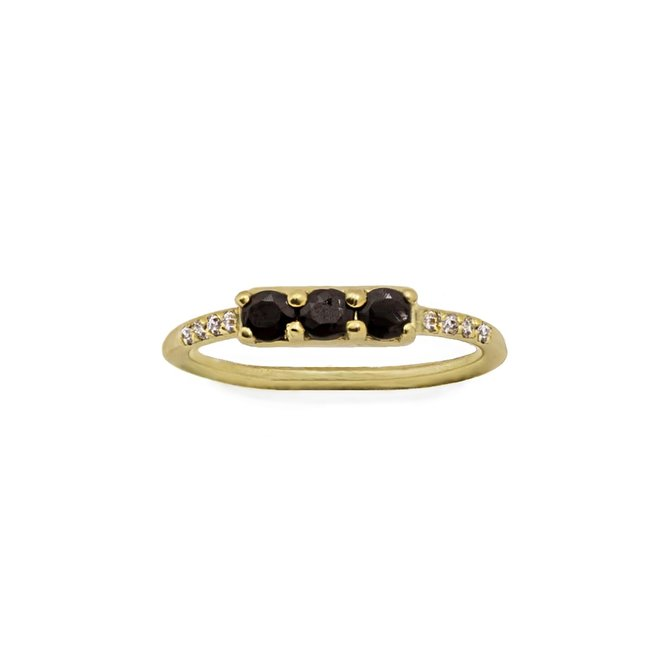 Vintage Black Onyx Combo Ring gold