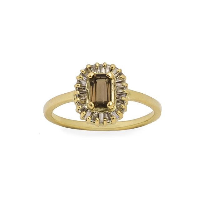 Vintage  Smoky Baguette Diamond ring gold