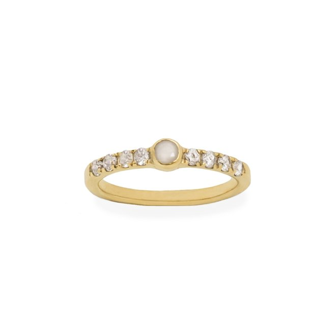 Tiny White Agate Ring gold