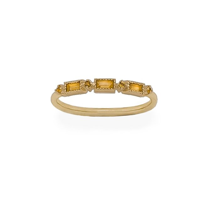 Citrine Star ring   9K Solid Gold