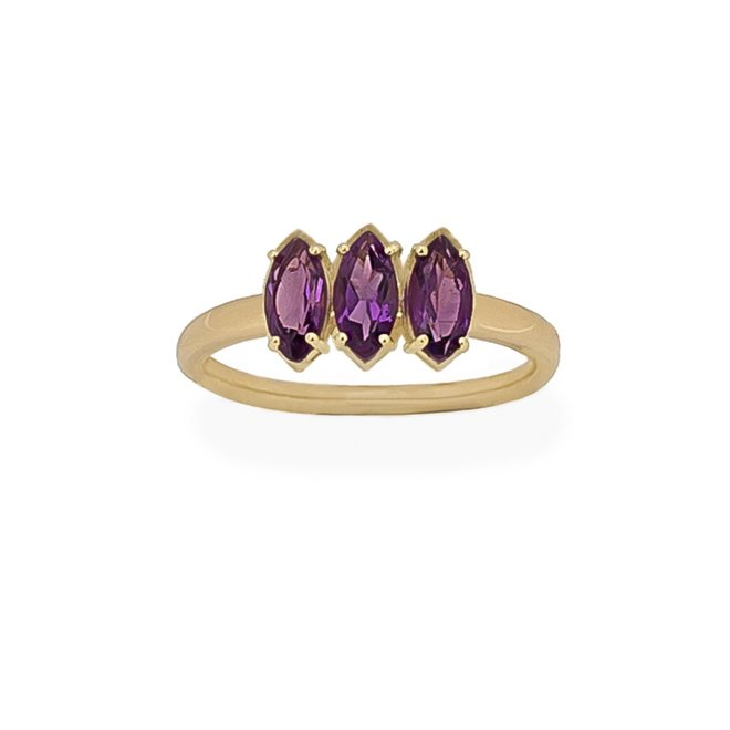 Marquise Amethist ring   9K Solid Gold