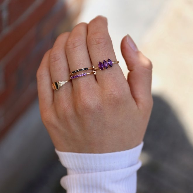Tiny Amethyst ring   9K Solid Gold