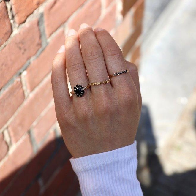 Tiny Black Spinel ring | 9K Solid Gold