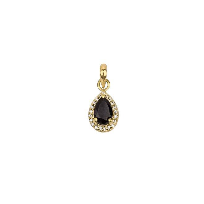 Vintage Black Onyx Drop Pendant Gold