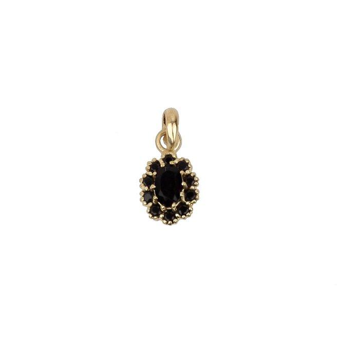Vintage Black Onyx Flower Pendant Gold