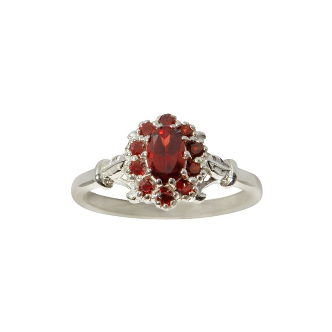 Vintage Garnet  Flower ring silver