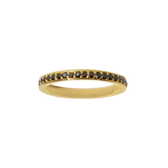 Pavé Black Onyx ring gold