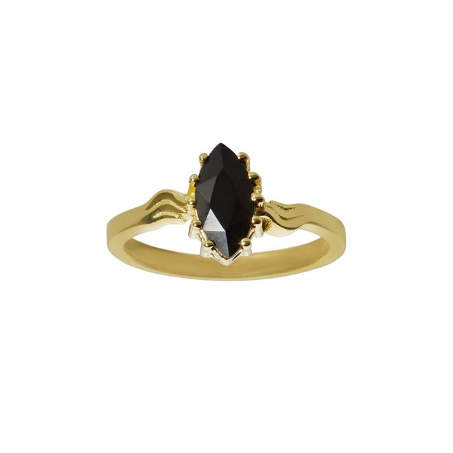 Vintage Black Onyx Marquise ring gold