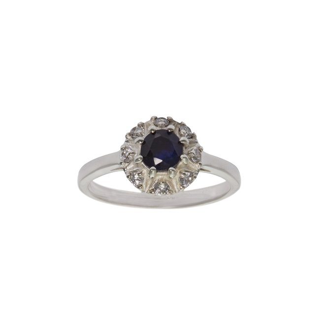 Vintage sapphire ring silver