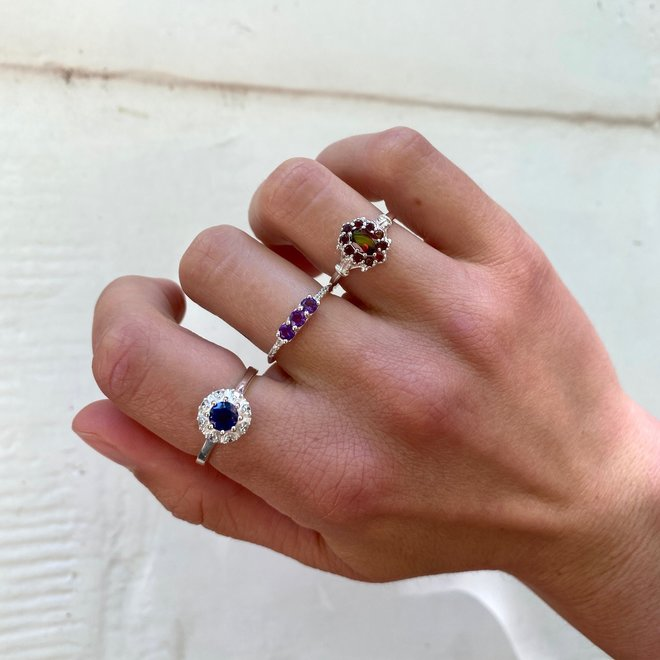 Vintage Amethyst Combo ring silver