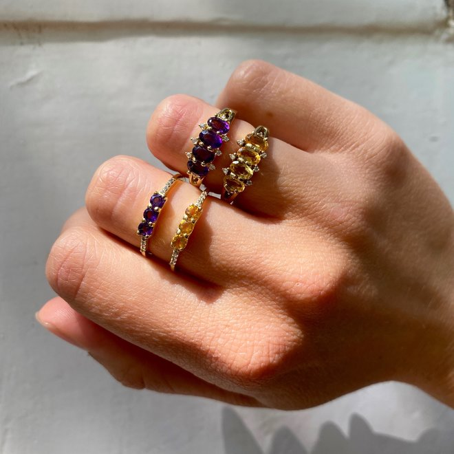 Vintage Amethyst Combo ring gold