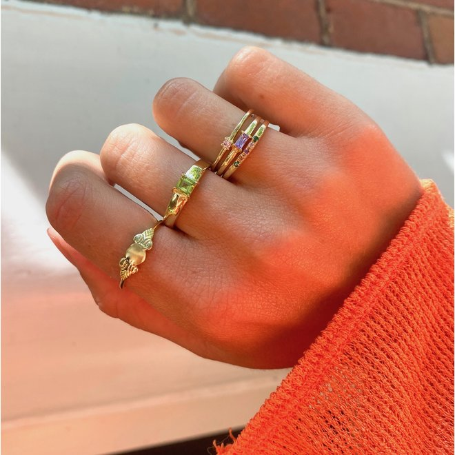 Baguette Lilac Ring Gold