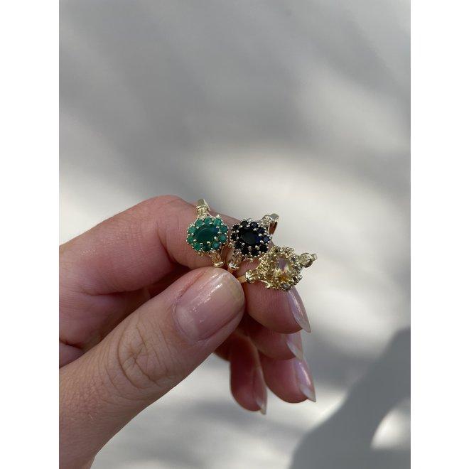 Vintage Green Onyx Flower ring gold