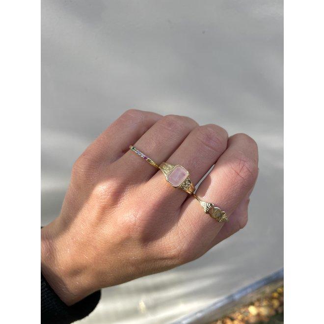 Rose Quartz Signet ring gold