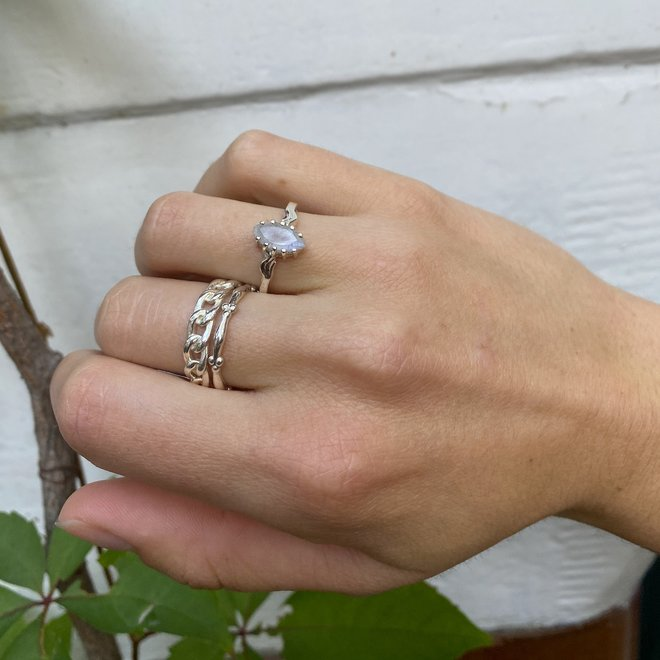 Vintage Moonstone Marquise ring silver