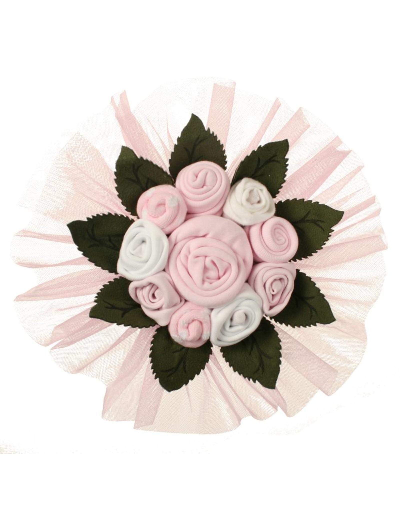 Baby Geschenkset Blumenbouquet rosa 3-6 Monate