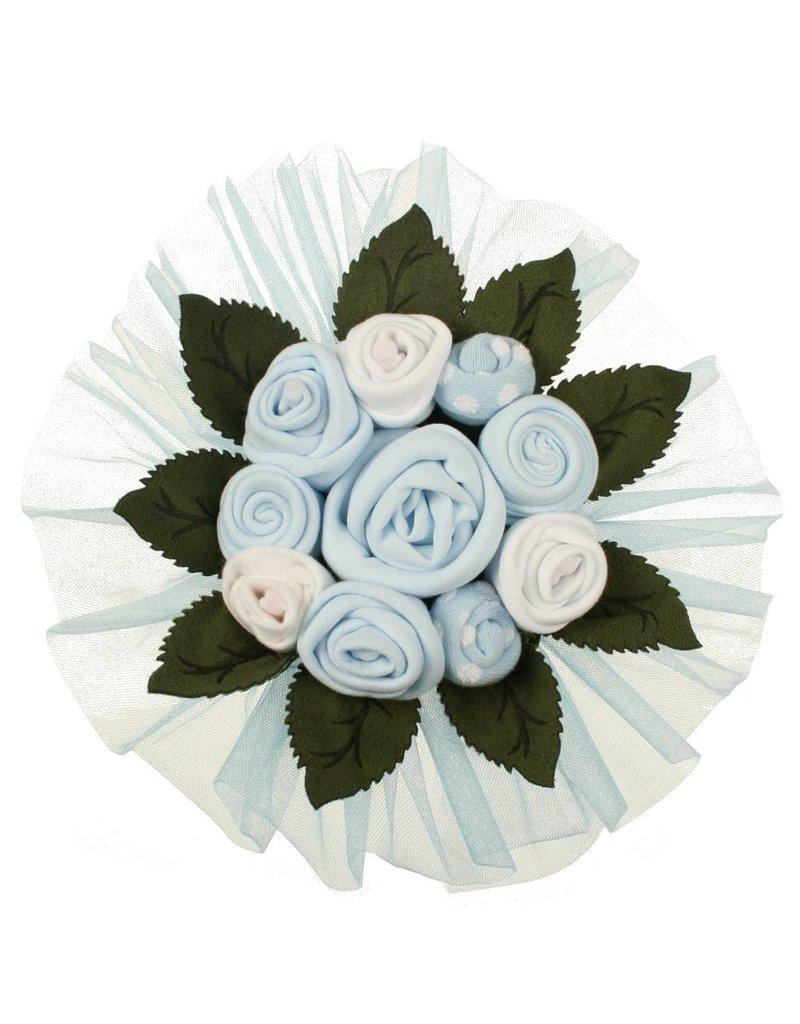 Baby Geschenkset Blumenbouquet blau 3-6 Monate