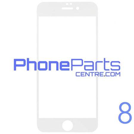 6D glas - witte winkelverpakking voor iPhone 8 (10 stuks)