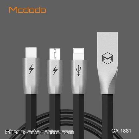 Mcdodo Mcdodo 3-in-1 Lightning Kabel + Micro-USB + Type C - CA-1881 1.2m (5 stuks)