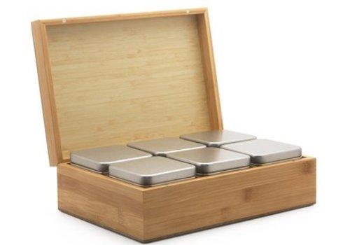 Bredemeijer Bredemeijer theedoos bamboe met 6 blikjes