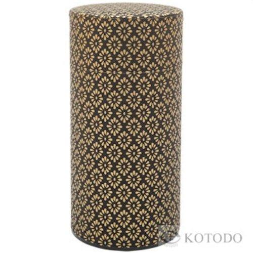 Kotodo theeblik bloemenmotief (goud/zwart)