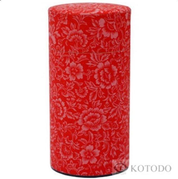 Theeblik bloemenmotief (rood)