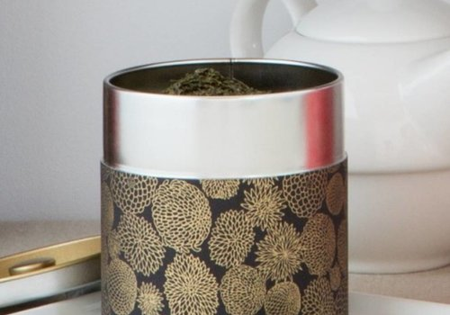 Kotodo Kotodo theeblik bloemenmotief (goud/zwart)