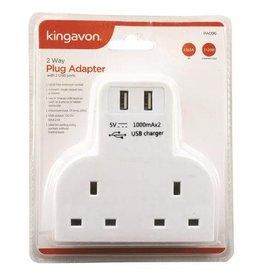 KINGAVON 2 WAY PLUG ADAPTER WITH 2 USB PORTS