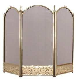 INGLENOOK FIRE08 3 PANEL BRASS FIRESCREEN