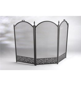 INGLENOOK FIRE07 3 PANEL DECORATIVE BLACK FIRE SCREEN GUARD