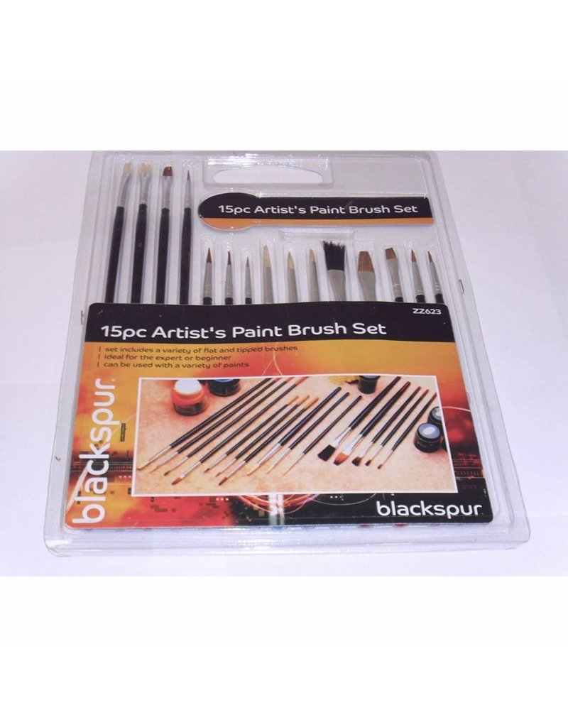 Blackspur BLACKSPUR 15PC ARTIST'S PAINT BRUSH SET