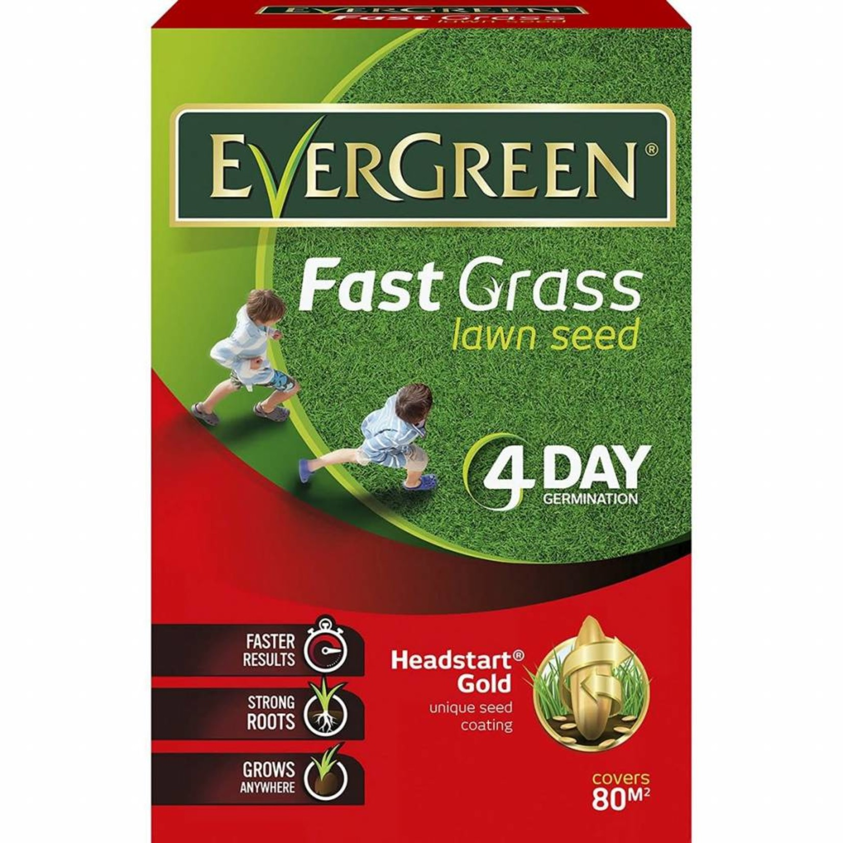 EVERGREEN 2.4KG FAST GRASS LAWN SEED 80M2 (DISC)