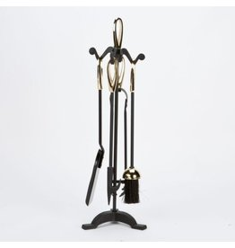 INGLENOOK FIRE29 5 PIECE FIREPLACE TOOLS BLACK GOLD HANDLE, STAND, BRUSH, TONGS, POKER, SHOVEL