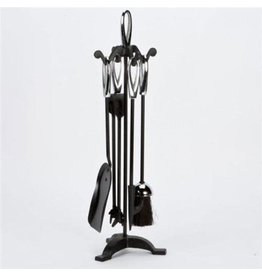 INGLENOOK FIRE59 FIRE 59.  5 PIECE FIREPLACE TOOLS BLACK SILVER HANDLE, STAND, BRUSH, TONGS, POKER, SHOVEL