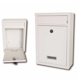 ASHLEY MAILBOX WHITE HEAVY DUTY STEEL PLATE, RECTANGULAR, 320MM X 215MM X 85MM., 2 KEYS