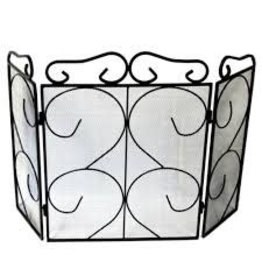 INGLENOOK FIRE94 HEAVY 3 FOLD WROUGHT IRON FIRE SCREEN
