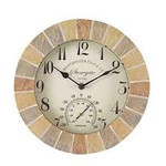 Smart Garden Stonegate Sandstone 10in Wall Clock and Thermometer