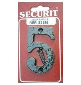 75MM ANTIQUE DOOR NUMBER BLACK - 5